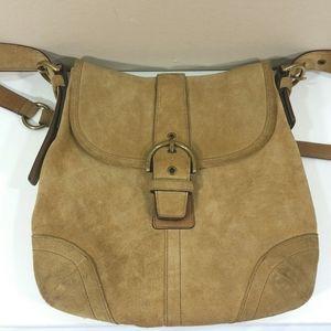 Coach Suede Tan Cross body Bag Vintage K3S-9416